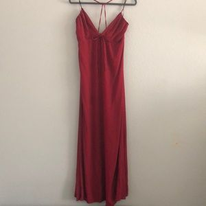 Long deep red strappy maxi dress